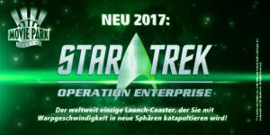 Das Logo zur Attrakion: Star Trek: Operation Enterprise, ein Launch-Coasters aus dem Hause Mack Eröffnung geplant zur Saison 2017