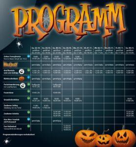 Programm für das Halloween-Event im Skyline Park